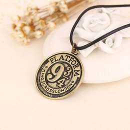 Wholesale Movie Jewelry Harry Potter Platform coin Necklaces Antique silver bronze Round rope chain Engraved charm pendant Necklaces by DHL
