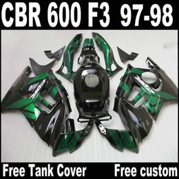 Lowest price fairing kit for HONDA CBR600 F3 1997 1998 CBR 600 F3 fairings 97 98 black green motobike set QY64