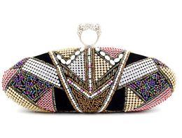 Wholesale-High End Finger Ring Evening Bag Bohemian Style Beaded Clutch Bag Diamond Clutch Purse Party Wedding Handbags Chain Shoulder