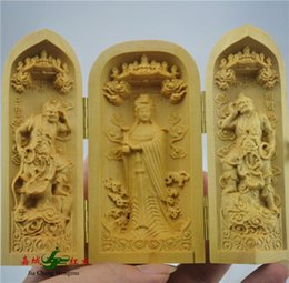 Wholesale Boxwood wood ornaments and statues security and peace to send their elders gifts life Matsu statue of Buddha Western Trinity three open boxe
