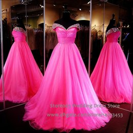 Wholesale Exotic Fuschia Prom Dresses Real Pictures Off the Shoulder Pageant Dress for Women Pleat Beaded Crystal Evening Gowns L028