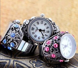 Wholesale Luxury Crystal Diamond Stainless Steel ring finger watch Princess womens Finger decorations table quartz watch black white purple color