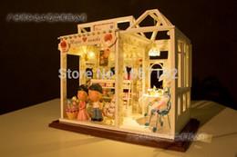 Wholesale Cozy Kitchen with Garden European style DIY Dollhouses D Miniature LED light Wood amp Metal assembled Handmade kits Building