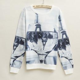 Europe 2015 New Women 3d Printing O-neck Hoodie Winter Long Sleeve Women Sweatshirt Cup Printing Women Hoodies Sweatshirts