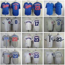 Wholesale Chicago Cubs Ryne Sandberg Jersey Mark Grace Andre Dawson Blue Black White Gray Beige Throwback Baseball Jerseys Online