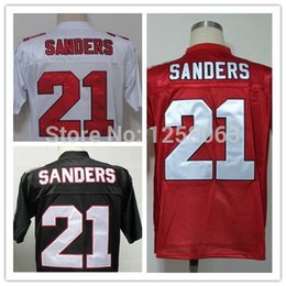 Wholesale Factory Outlet Christmas Clearance Sale Atlanta Deion Sanders White Red Black Men s Throwback Football Jerseys Size Mix order