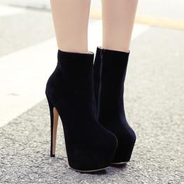 Longue en cuir femmes boot en Ligne-16cm ultra bottines à talons hauts noirs chaussures brevet de plate-forme de bottes en cuir femmes taille 35 à 40