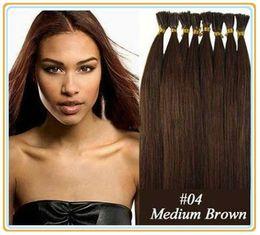 "ELIBESS Wholesale - - 18""- 22"" 1g s 100s set 4# medium brown keratin stick i Tip Hair Pre bonded Peruvian Hair Extensions"