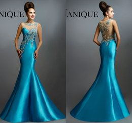 Wholesale 2016 Janique Evening Gowns Jewel Sleeveless Heavy Beaded Mermaid Aqua Blue Prom Dresses Formal Party Mother Dress