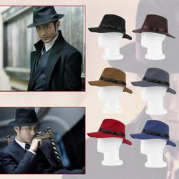 Wholesale-Classic Unisex Jazz Hat Gangster Cap Hard Felt Wide Brim Ribbon Cotton Blend Hat Bowler Trilby Style Cap New Hot