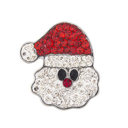 Wholesale Christmas Diy Fashion - NSB2454 Hot Sale Snap Buttons 18mm Buttons Fashion DIY Charms Crystal Snaps Christmas Collection Santa Claus Snaps