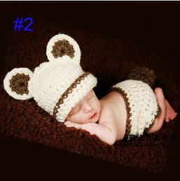 Wholesale Factory Little bear Crochet Baby HaFactot and Diaper Cover Costume Infant Hat Cocoon Set Crochet Beanie Photography Props
