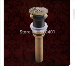Wholesale Hot Sale And Retail Promotion Antique Brass Basin Sink Drain Pop Up Waste Vanity Bamboo Sink Drain No Overflow