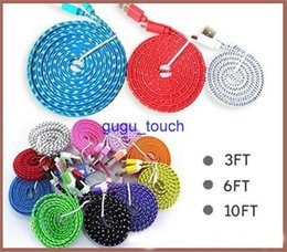 1M 2M 3M Noodle Flat Fabric Braid Charging Cord color Sync Fabric Micro Wire USB Data Woven Cable Line Samsung S3 S4 S5 S6 Note 2 200