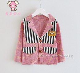Wholesale 2015 Autumn Hot Sale Boys Outwear Gentleman Children Jackets Spectacle pattern Striped Little Kids Business Suit Coats T795