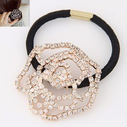 Wholesale Fashion Hollow Gold Silver Crystal Rose Flower Hair Rope Women Hair Jewelry Accessories Hair Wear