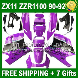7gifts For KAWASAKI NINJA ZX11R Purple black ZX11 90-92 36#115 ZZR 1100 ZX-11 ZZR1100 Purple white ZX 11 90 91 92 1990 1991 1992 Fairing