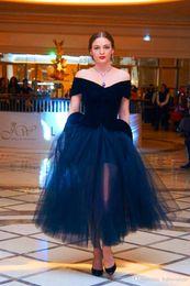 50's Vintage Party Dresses 2016 Velvet Top with Sheer Tulle Skirt Arabic Off the Shoulder Cap Sleeves Tea Length Cocktail Dresses