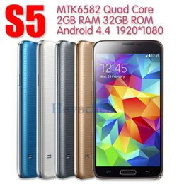 Wholesale S5 i9600 smartphone inch MTK6582 Quad core Android4 GB RAM GB ROM show G LTE Single SIM Fingerprint Healthe care cell phone G GPS