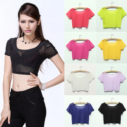 2015 Sexy Women Ladies Candy Color Mesh Sheer See Through Crop Tops Stretch Short T-Shirt 8 Color