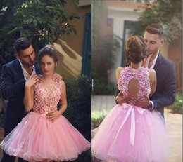 Cheap 2020 New Pink Halter Neck Backless 3D Flower Cocktail Dresses Elegant Backless Short Prom Dresses Tulle Homecoming Dresses Party Gowns