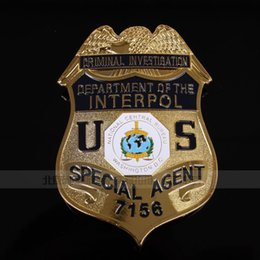Wholesale The emblems of the international INTERPOL of the U S Centers for Washington D C Bureau agents copper Badge