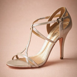 """Made-ot-order Silver Wedding Shoes Open Toe Pumps T-Straps Buckle Closure Metallic Leather Party Dance 4"""" High Wrapped Heels Women Sandals"""