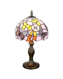 Wholesale-EMS Free Table Lamps Tiffany Style Butterfly Design Stained Glass Desk Light Fixture Mediterranean Sea Style Bedroom No.8S2563