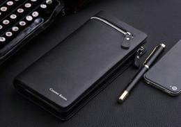 Free shipping fashion design leather men's wallet, business style brand men's long wallet zipper wallet clutch