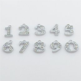 Wholesale Hot Numbers Hang Charms Pendant Full Rhinestones Fit Necklace Bracelet Collar Cell Phone Charms HC57