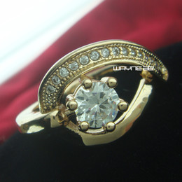 r231-Size 6 to 8 Woman's Cute White Sapphire 18K Yellow Gold Filled Ring Gift