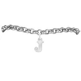 Lover Letter J Charm Rolo Chain Bracelets 100pcs A lot Link Chain Antique Silver Plated Latest Design