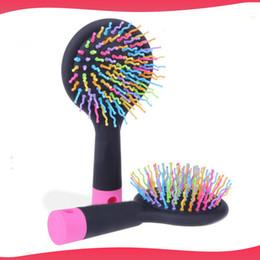 Rainbow Volume Hair Brush Multi Color Magic Detangler Hair Styling Tool Hair Brush Comb With Mirror free shipping DHL