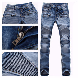 Wholesale Men Brand Paris Runway Stretch Jeans Washed Acid Light Blue Biker Slim Jeans Men Plus Size
