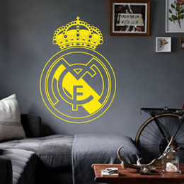 Wholesale Art Wall Sticker home decoration Vinyl beautiful football club mark flag Wall Sticker removable house decor PVC soccer sign decal