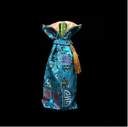 Chinese Silk statin embroidered Pouch gift wine bottle packing mixed color tassel design sold per 10pcs