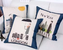 Cushion cover modern city London Paris New York pillow cover linen cotton cushion pillow case decorative couch sofa cover 45x45cm