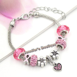 New Arrival European Style Breast Cancer Awareness Jewelry Pink Crystal Heart PDR Charms Pink Ribbon Bracelets for Breast Cancer Jewelry