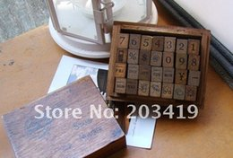 Wholesale Wooden vintage block Antique numbers weather week Stamps Handwriting carved gift toy PC set CN post