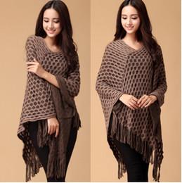 Hollow Out New Fashion Knit Ponchos Leisure Cardigan Knitting Coat Lady Batwing Cape Tassel Poncho Knitwear Shawl Wraps Cardigan Sweater