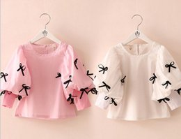 Wholesale 2015 New Fashion Girls Puff Sleeve Shirt with Lively Bowknots Children Clothing Kids Cute Casual Tops Princess Shirt TS01