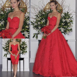 Romantic Red Lace Wedding Dresses Detacheable Dress Spaghetti A Line Floor Length Plus Size Modern Bridal Gowns 2016 New Arrival
