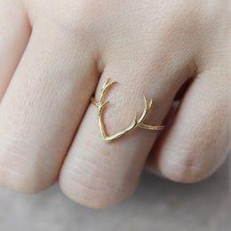 Wholesale 10PCS R005 hot sale Simple Deer Antler stag ring reindeer deer horn ring cute animal ring buckhorn ring jewelry