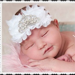 Baby Shabby Flower Headbands With Crown Rhinestone Girl Hairbands Hair Accessories Toddler Chiffon Flower Hair band For Photography Props