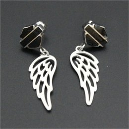 Wholesale 3pairs biker style hot selling angle wings earrings l stainless steel fashion jewelry crazy motor biker earrings
