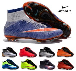 Wholesale 2016 Nike Mercurial Superfly FG Mens Soccer Boots High Cut with Sock nike soccer shoe clearance Boys soccer cleats WHIT BOX