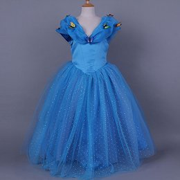 Wholesale Children Cinderella Princess Dresses New Big Girls Cosplay Movie Party Prom Ball Gown Dresses Butterfly Wear Lace Clothing GZ A520