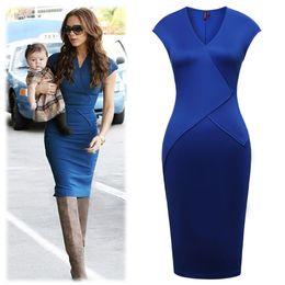 Free shipping Womens Cap-Sleeve V-Neck Dress Bodycon Party Pencil Dress Women Oval Neck Dress Smart Slim Fit Dress Blue Orange 1686