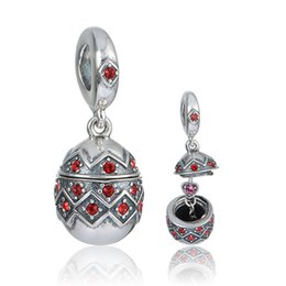 Wholesale New sterling silver easter egg pendants beads fit European charms bracelets or necklace for pandora style jewelry No80 S402
