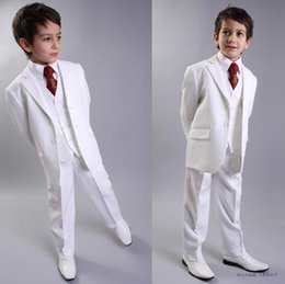 High Quality Two Buttons White Notch Lapel Boy's Formal Wear Occasion Kids Tuxedos Wedding Party Suits (Jacket+Pants+Vest+Tie) K39